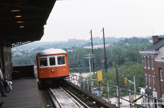 SEPTA Strafford car 160 in May 1976. This looks like the Norrsitown Terminal.