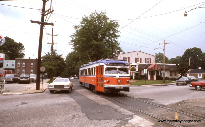 "SEPTA double-ended car 15, built in 1949, in May 1976. Not sure whether this is the Media or the Sharon Hill line. Kenneth Achtert: ""Car 15 is on the Media line at the east end of the Media street-running, crossing Providence Road about to reach Bowling Green station."""