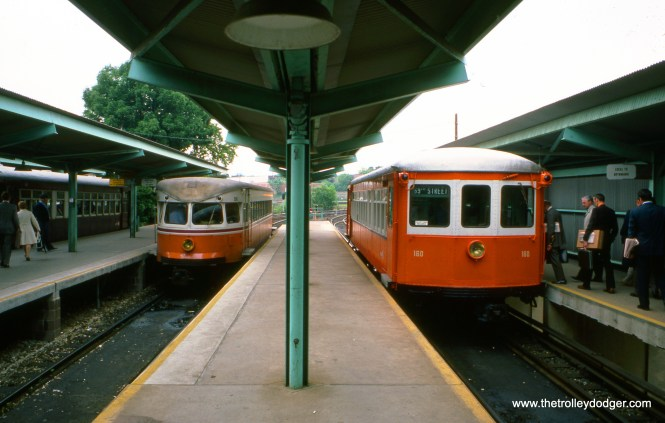 Bullet car 208 (left) and Strafford car 160 (right) in May 1976. I was fortunate to ride both such cars on this line in 1985.
