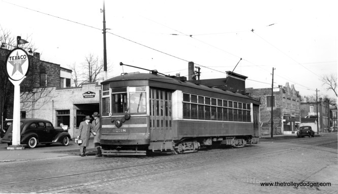"""CSL 6238 on the 67-69-71 line. This was known as a Multiple-Unit car. Don's Rail Photos adds, """"6238 was built by Lightweight Noiseless Streetcar Co in 1924. It was rebuilt (for) one man service in 1932."""""""