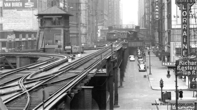 Here, we are looking north on Wabash at Van Buren, near Tower 12, circa the 1940s.