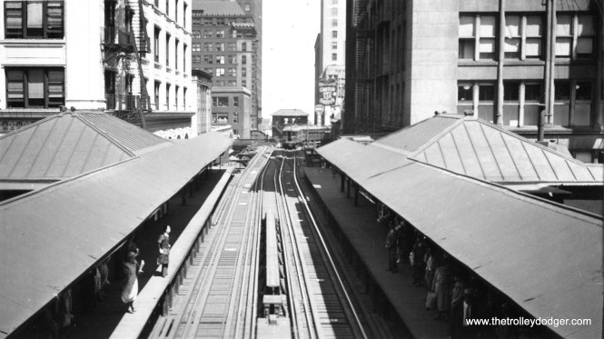 """This is the old State and Van Buren station on the Loop """"L"""", looking east towards Tower 12. This station was closed in 1972 and demolished. It has since been replaced, due to its proximity to the Harold Washington Library."""