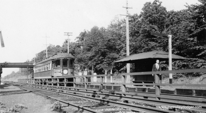This picture shows CA&E car 425 at Glen Oak on a Central Electric Railfans' Association fantrip. The date was September 2, 1940.