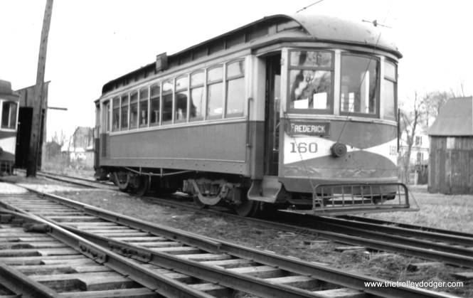 "H&F #160. Don's Rail Photos: ""160 was built by Cincinnati in 1909 as Hagerstown Ry. 45. Disposition is unknown."" (Railroad Record Club photo #12-100)"