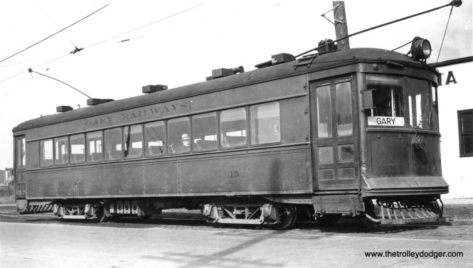 Gary Railways 15 at Kennedy siding on the Hammond line on March 9, 1941. According to the photo information, this car was built by Cummings in 1926.