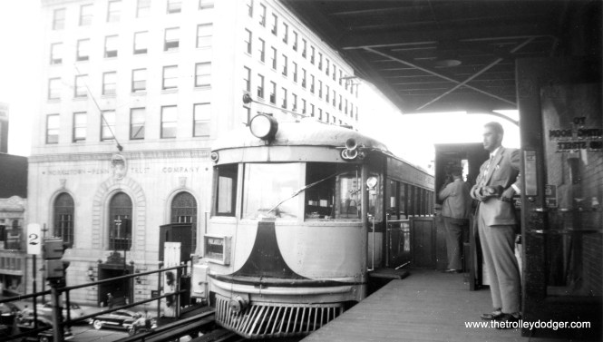 Here, we see Lehigh Valley Transit car 1023 at Norristown on May 9, 1950. LVT interurban service to Philadelphia on the Liberty Bell route had been cut back to this point the previous year, and even this truncated version would only last about another year before abandonment. Riders would have changed trains to ride the Philadelphia & Western the rest of the way to the 69th Street Terminal. Through a great coincidence, the man at right has been identified as Ara Mesrobian, who is mentioned elsewhere in this post!