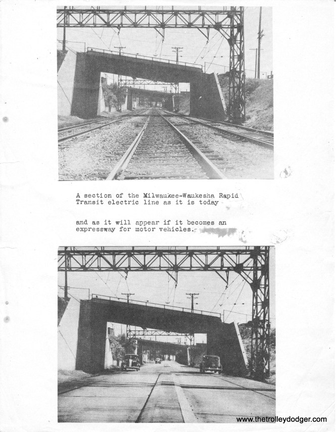 This excerpt from a 1945 Milwaukee freeway report shows how even then, planners intended to take the Rapid Transit Line right-of-way for highway use.  The bottom photo, of course, was a composite.