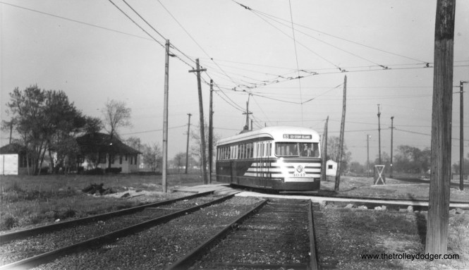 I would say this photo of prewar PCC 4047 was taken circa 1948, when the loop at 63rd Place and Narragansett was brand new. Formerly, double-ended cars ran to Oak Park Avenue a half-mile west of here.
