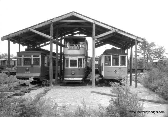 At left, we can see Chicago Pullman 225 under a makeshift shelter at the Seashore Trolley Museum. 225 went there in 1957, but offhand, I'm not sure when the UK double-decker tram made the trip across the Atlantic.