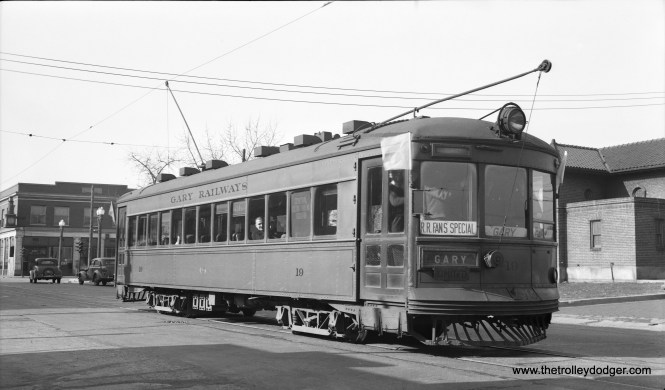 Gary Railways 19 at Indiana Harbor on May 1, 1938 during the very first fantrip of Central Electric Railfans' Association. This car was built by Cummings in 1927. (LaMar M. Kelley Photo)