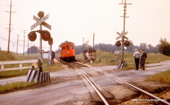 CA&E 459 at Raymond Street in Elgin, June 9, 1957.