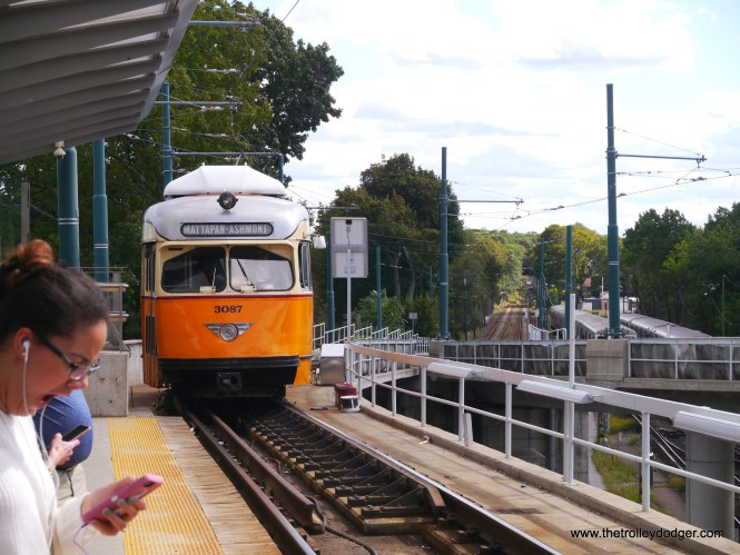 """It's incredible that this PCC is still in service. According to Don's Rail Photos, """"3087 was built by Pullman-Standard in 1945, #W6710A. It was rebuilt in 2000 for service."""" Here, we see it pulling in to the Ashmont Terminal, where riders can switch to the Red Line subway. Unlike the other light rail lines, the Ashmont-Mattapan line is considered part of the Red Line. When we were there, it was operating as a free shuttle, although the trains had fare boxes."""