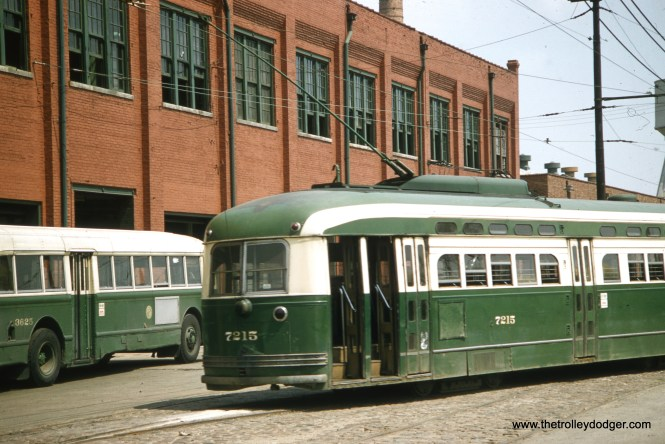 This picture of CTA postwar PCC (built by St. Louis Car Company) at South Shops was probably taken at around the same time (and by the same unknown photographer) as the Kenwood picture, i.e. August 1957. The nearby bus is 3625. If the date is correct, all the postwar Pullmans had been gone from the property for more than two years already.