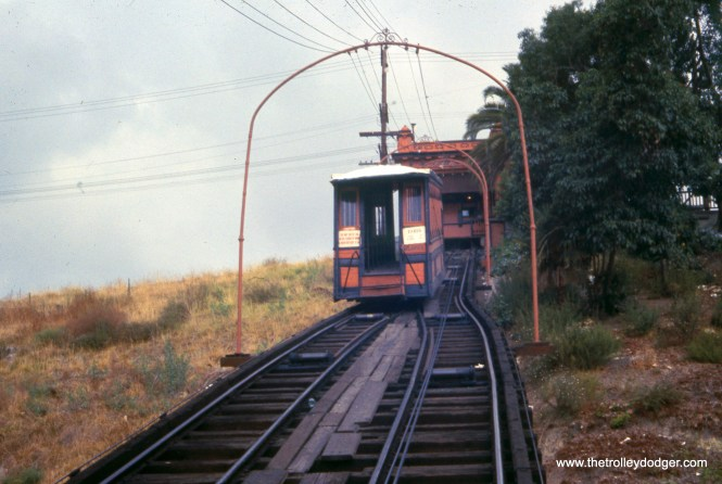You might be mistaken for thinking this funicular was in a rural location, but this picture (and the next) shows the Angel's Flight Railway in Los Angeles in August 1968. By then, much of the surrounding area in the Bunker Hill neighborhood had been cleared for redevelopment. Angel's Flight itself was dismantled in 1969, as part of the hill was leveled. After being in storage for many years, it was finally relocated and has now once again resumed operations, with important new safety features after a series of accidents.