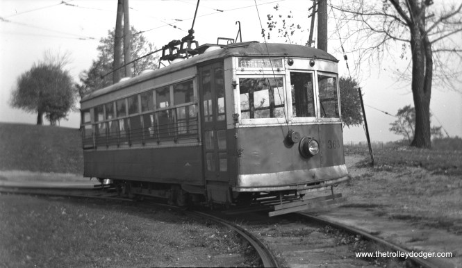 "New Castle (Pennsylvania) Electric Street Railway ""Birney"" car 363 at Cascade Park loop on August 24, 1941. Streetcar service was abandoned on December 11th of that year. This car was formerly Penn-Ohio Power & Light 363 and was painted orange. (John A. Clark Photo)"