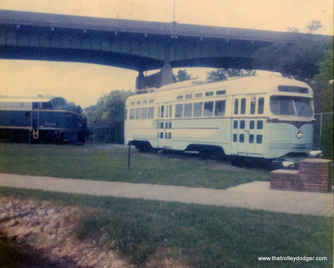 A PCC car at the Virginia Museum of Transportation in Roanoke on August 27, 1975. This is DC Transit 1470, built by St. Louis Car Company in 1945.
