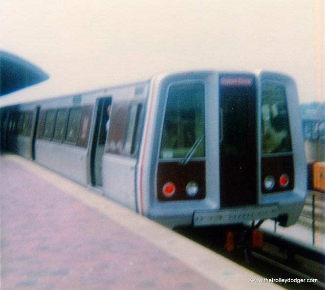 A Washington, D.C. subway car at the Rhode Island Avenue station on September 1, 1977.