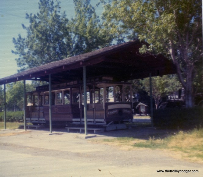This San Francisco cable car was on display at the Santa Clara County Fairgrounds on May 26, 1973. Many children played on this car over the years. It was originally a California Street car using a side grip and was not updated when Muni took over the line. I read that in 2005 it was in storage, listed as being in poor condition with a broken frame. I am not sure if it still exists.