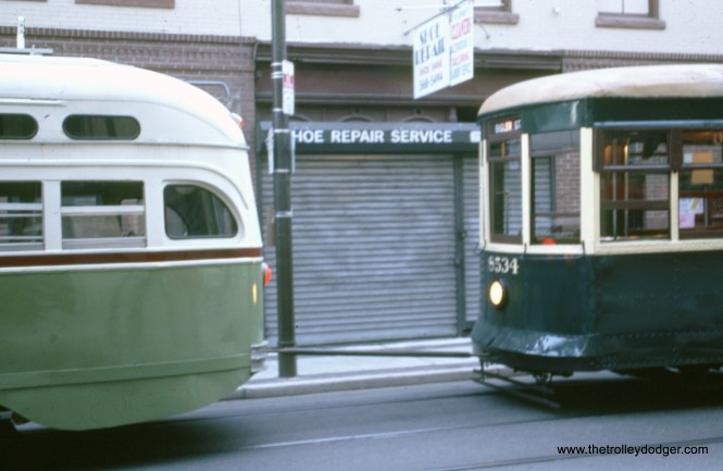 SEPTA 2750 and 8534 on a fantrip in August 1996. Apparently 8534 has broken down and is being towed.