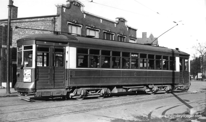 "CSL 970 on Waveland between Broadway and Halsted in 1936. This was the north end of the Halsted line. 970 was part of a series known as the ""little"" Pullmans, since they were slightly shorter than cars 101-750. It was built in 1910. (Edward Frank, Jr. Photo)"