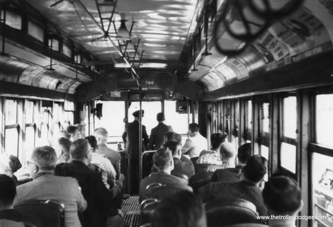 The interior of DC Transit car 766, during an October 8, 1961 fantrip just a few months before Washington's streetcar system was abandoned. This car is now preserved at the National Capital Trolley Museum as Capital Traction Company 27 (its original umber). We have an excellent CD featuring audio recordings of 766 in operation in Washington, DC in our Online Store.