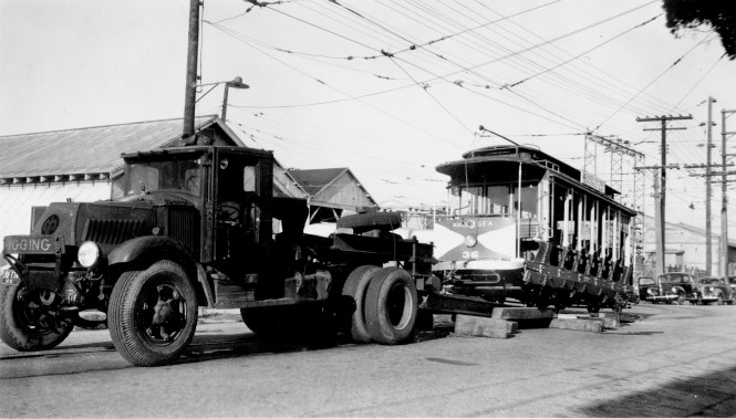 Car 36 on its way to the Connecticut Trolley Museum in 1945.