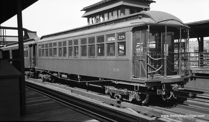 "Chicago Rapid Transit Company ""L"" car 328 at Indiana Avenue in September 1936. It is signed as a Stock Yards local."
