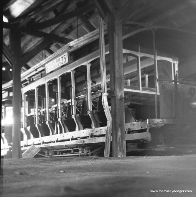 Five Mile Beach Electric Railway car 30 in the car barn, circa the mid-1940s. (Walter Broschart Photo)
