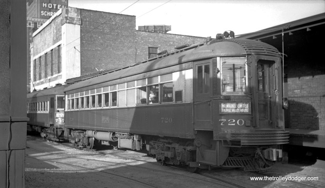 North Shore Line cars 720 and 747 in Milwaukee on October 12, 1941.