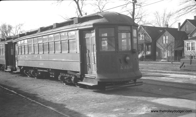 "CTA salt spreader AA-105 (ex-2854) at the North Avenue car barn in February 1952. Don's Rail Photos: ""2854 was built by South Chicago City Ry in 1907 as SCCRy 340. It was rebuilt in 1907 and became C&SCRy 839 in 1908. It was renumbered 2854 in 1913 and became CSL 2854 in 1914. It was later converted as a salt car and renumbered AA105 in 1948. It was retired on February 17, 1954."""