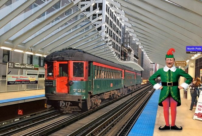"Here's Eric Bronsky's 2017 holiday card. Alluding to some Comments that were made about a different picture in our last post (Reader Showcase, 12-11-2017), we are certain that this image of the new Chicago Transit Authority ""L"" station at Washington and Wabash has been worked over in Photoshop. But such is our desire to see North Shore Line trains running again, that we freely admit we believe it must be true!*"