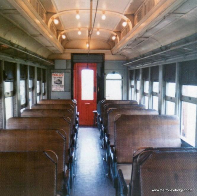 The interior of CA&E car 20 in August 1970.