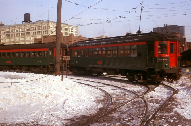 North Shore Line cars 715 and 748 at the Milwaukee terminal on January 20, 1963. 715 is now preserved at the Fox River Trolley Museum.