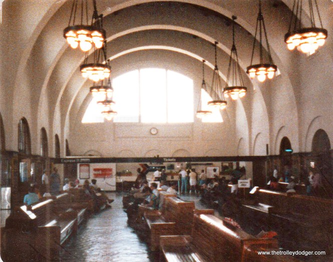 The interior of the beautifully restored ex-Santa Fe (now Amtrak) San Diego station.
