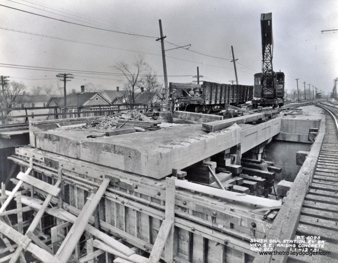 This January 12, 1931 photo shows the South Boulevard station under construction. It was in a better location from the standpoint of patronage, and replaced the Calvary station a few blocks away (which you can see in the distance). (Chicago Rapid Transit Company Photo)