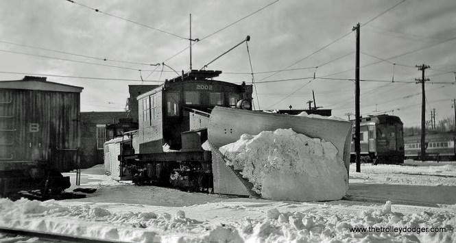 Again, CA&E loco 2002 with snow plow attached. It was built by G. E. in 1920.