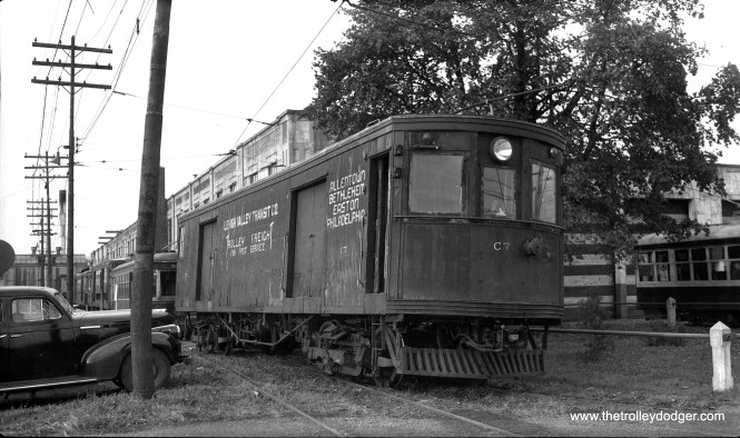 Lehigh Valley Transit express freight car C7. built by Jewett in 1913, is seen here at the Fairview car barn in the 1940s.