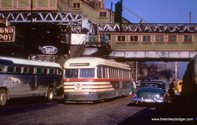 "CTA 4013is at the east end of Route 63 at Stony Island and 63rd on November 29, 1951. This was also the terminus of the Jackson Park branch of the ""L"", which has since been cut back. I believe this is a Truman Hefner photo."