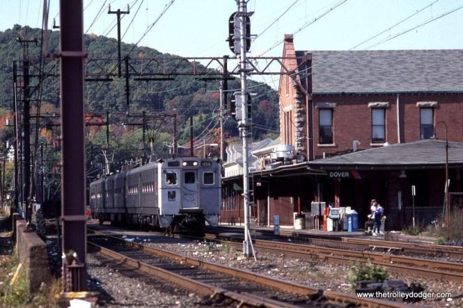 Photo 1. NJT Arrow II MU #1265 leads train #964 at Dover, NJ. 10-13-91.