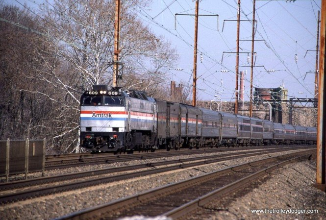 Photo 12. Amtrak E-60 #609 powers Train #91 the SILVER STAR at Holmesburg Junction, PA. 2-9-02.