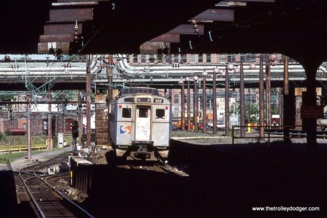 Silverliner IV #333 departing the upper level of 30th Street Station Philadelphia, PA in 1988.