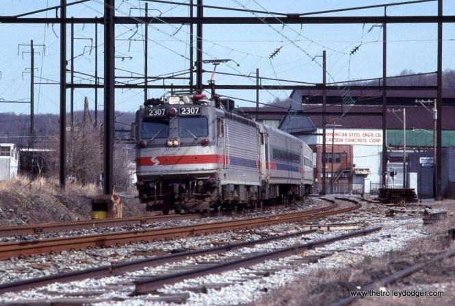SEPTA AEM-7 #2307 at Conshohocken, PA in 1992.