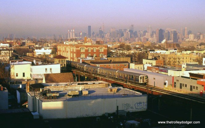 """A """"W"""" train of R-42 cars near the Ditmers Boulevard station in Astoria Queens, New York, 4-19-05."""