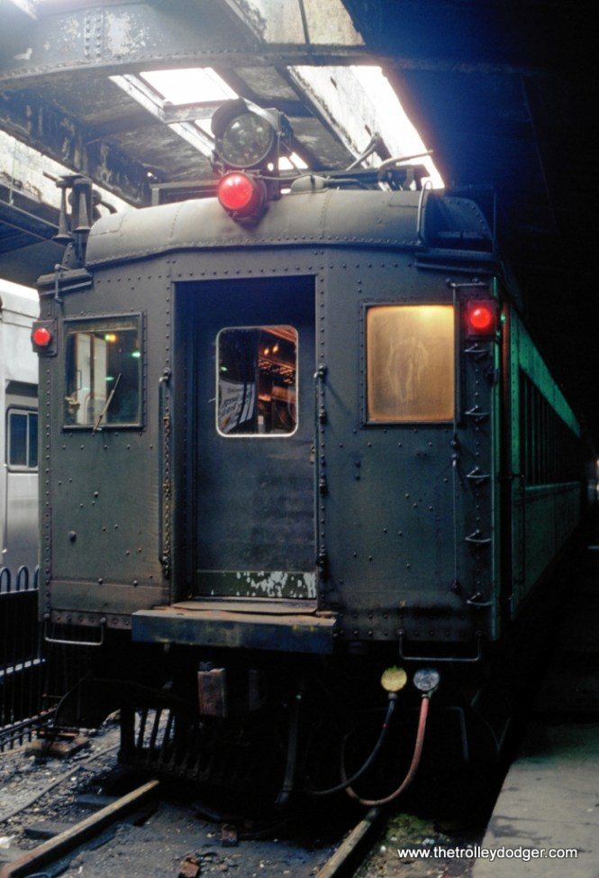 Photo 2. A train of DC electric MUs under the Bush trainshed of the Hoboken Terminal in 1980.
