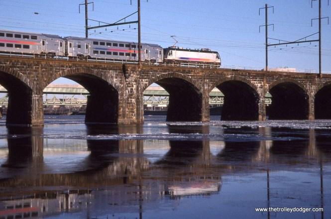 Photo 3. NJT ALP-46 #4623 crossing the Ex-PRR Delaware River Bridge, Morrisville, PA.