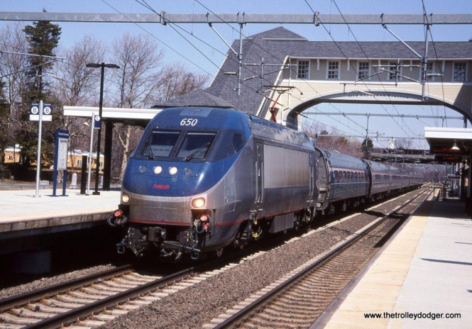 Photo 32. Amtrak HHP-8 #650 on Train #173 at Old Saybrook, CT. 4-19-05.