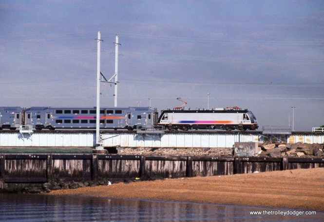 Photo 5. NJT ALP-46 #4626 crossing the Raritan River at Perth Amboy NJ. 7-11-08.