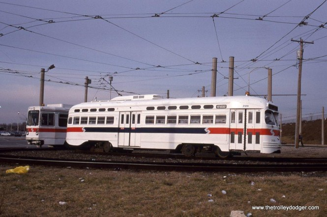 PCC #2129 at the 80th & Eastwick loop in Philadelphia, which is the end of the Route 36. This photo was taken on January 25, 1992, the car was used on a Wilmington Chapter NRHS charter this day.