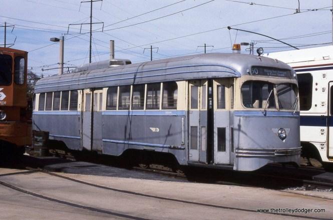 SEPTA PCC #2054 built by St Louis Car in 1941. Philadelphia, PA. 5-7-95.