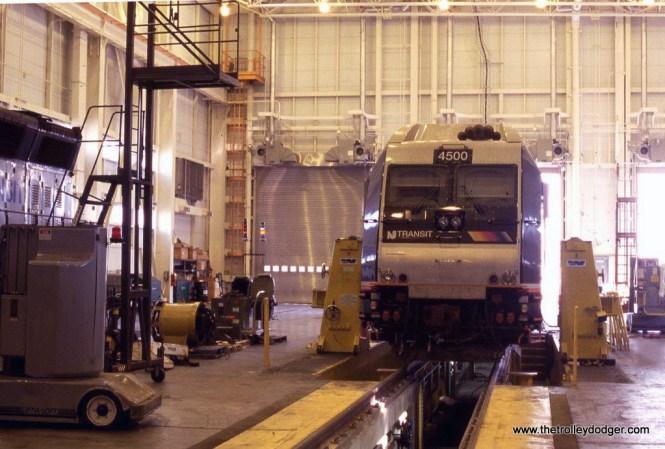 Photo 8. NJT class unit ALP-45DP # 4500 in the locomotive shop Meadows Maintenance complex.